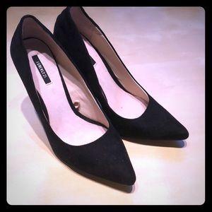 Forever Black Suede Heels. Size 8.